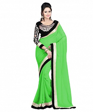 Beautiful Green Embroidery Faux Georgette Saree @ Rs668.00