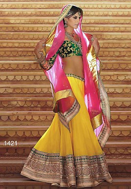 yellow wedding lehenga @ Rs4265.00
