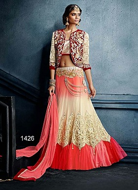 Chiku And Pink Designer Net Lehenga @ Rs4388.00