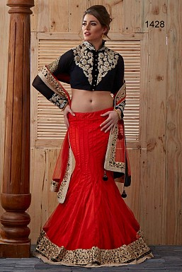 Red and Black Designer Lehenga @ Rs4141.00