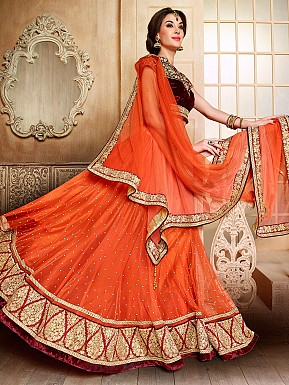 orange lehenga @ Rs3770.00