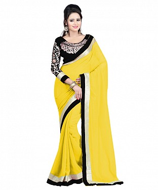Beautiful Yellow Embroidery Faux Georgette Saree @ Rs668.00