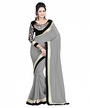 Beautiful Grey Embroidery Faux Georgette Saree @ Rs668.00