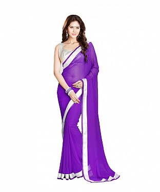 Beautiful Purple Embroidery Georgette Saree @ Rs569.00