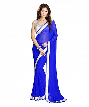 Beautiful Blue Lace Work Georgette Saree @ Rs569.00