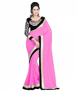 Beautiful Pink Embroidery Faux Georgette Saree @ Rs668.00