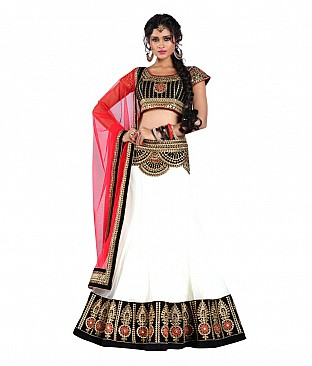 Plus Creation Multi Color Net Lehenga @ Rs3600.00