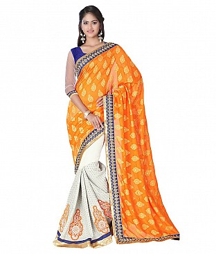 Style Sensus Orange Faux Georgette Saree @ Rs2883.00