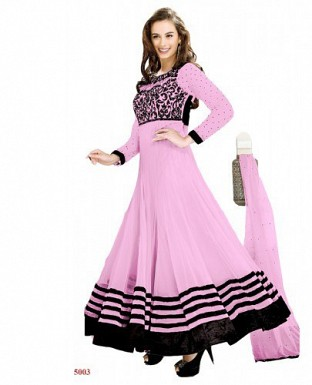 New Fancy Evelyn sharma Light Pink Embroidered anarkali suit @ Rs1020.00