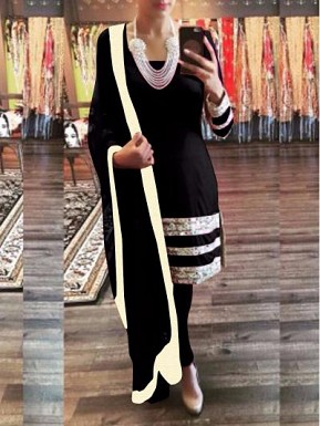 Black georget straight suit @ Rs1175.00