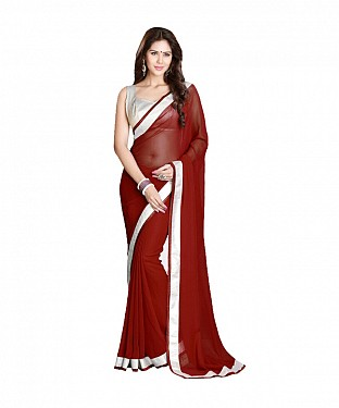 Beautiful Maroon Lace Work Georgette Saree @ Rs569.00