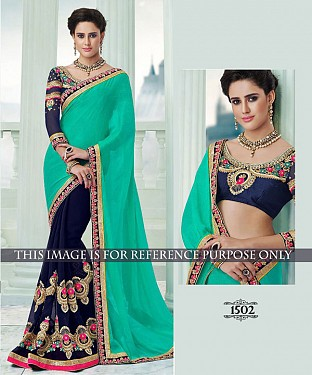 Designer Firozy Georgette Saree With Blue Rawsilk Blouse Fabric @ Rs1947.00