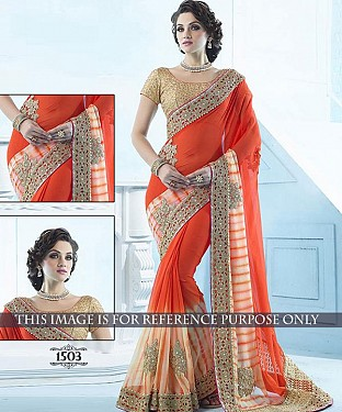Designer Orange Georgette Saree With Beige Rawsilk Blouse Fabric @ Rs2658.00
