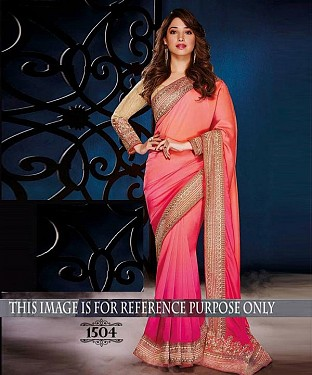 Designer Pink Chiffon Saree With Beige Banglori Silk Blouse Fabric @ Rs2194.00