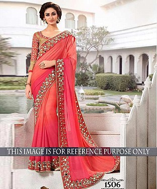 Designer Peach Georgette Saree With Beige Banarasi Blouse Fabric @ Rs2287.00