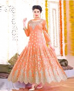 1507_Designer orenge colour anarkali suit @ Rs1373.00