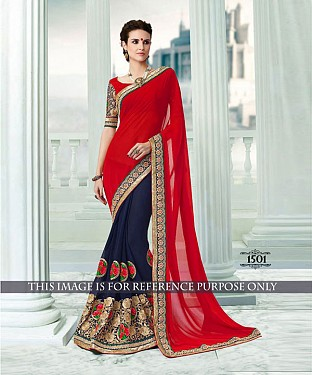 Designer Red Georgette Saree With Red Rawsilk Blouse Fabric @ Rs1947.00