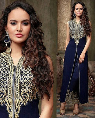 party wear blue colour salwar suit @ Rs1175.00
