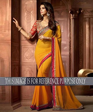 Designer Yellow Georgette Saree With Red Rawsilk Blouse Fabric @ Rs1947.00