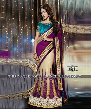 Designer Purple Georgette Saree With Multicolor Velvet Blouse Fabric @ Rs2411.00