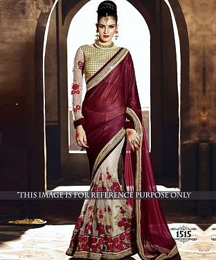 Designer Wine Lycra Saree With Beige Rawsilk Blouse Fabric @ Rs2287.00