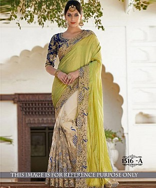 Designer Parrot Georgette Saree With Blue Banglori Silk Blouse Fabric@ Rs.3090.00