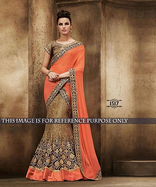 Designer Orange Georgette Saree With Copper Banarasi Blouse Fabric @ Rs2534.00