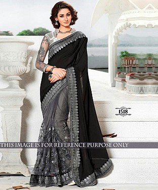 Designer Black Georgette Saree With Grey Banarasi Silk Blouse Fabric @ Rs2905.00
