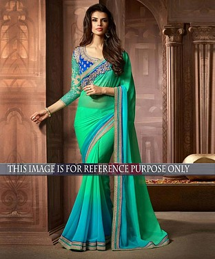 Designer Green Georgette Saree With Blue Rawsilk Blouse Fabric @ Rs1731.00