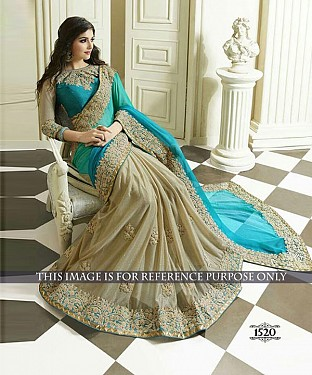 Designer Sky Silk Georgette Saree With Sky Rawsilk Blouse Fabric @ Rs2040.00