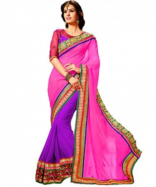 Beautiful Pink Embroidery Georgette Saree @ Rs1173.00