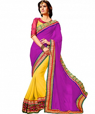 Beautiful Purple Embroidery Georgette Saree @ Rs1173.00