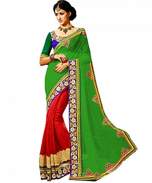 Beautiful Green Embroidery Georgette Saree @ Rs1422.00