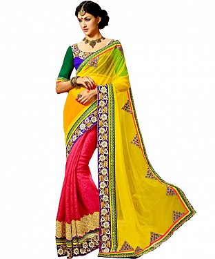 Beautiful Yellow Embroidery Georgette Saree @ Rs1422.00