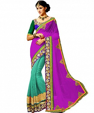 Beautiful Purple Embroidery Georgette Saree @ Rs1422.00