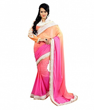Style Sensus Orange Faux Georgette Saree @ Rs1946.00