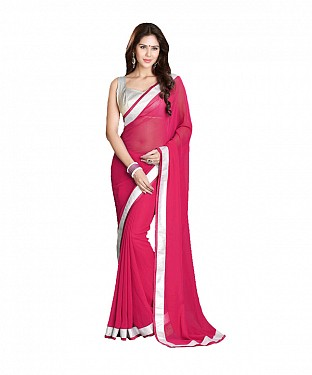 Beautiful Pink Lace Work Georgette Saree @ Rs569.00
