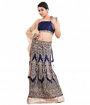 Paras Blue Embroidered Velvet Semi Stitched Lehenga @ Rs3707.00