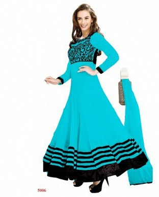 New Fancy Evelyn sharma Sky Color Embroidered anarkali suit @ Rs1020.00