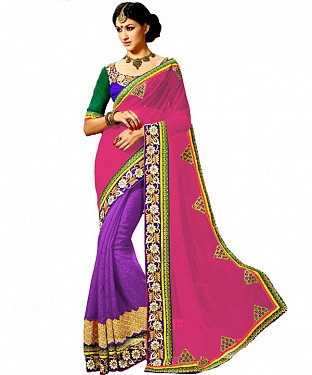 Beautiful Pink Embroidery Georgette Saree @ Rs1422.00