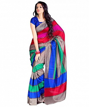 Silk Printed Saree - Multicolor @ Rs618.00
