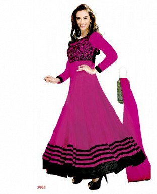 New Fancy Evelyn sharma Pink Embroidered anarkali suit @ Rs1020.00