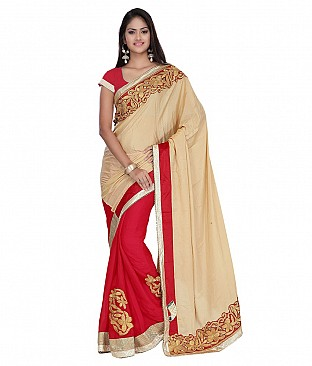 Style Sensus Beige Satin Saree @ Rs2704.00