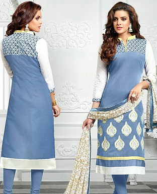 Designer Blue Latest Cotton Salwar Suit Dress Material @ Rs680.00