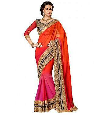 Beautiful Orange Embroidery Georgette Saree @ Rs988.00