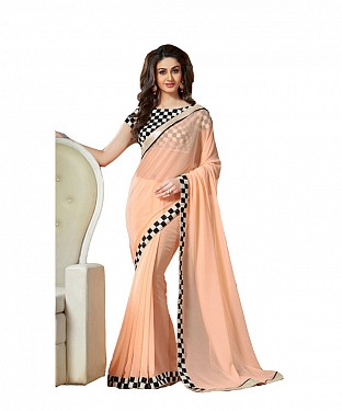 Beautiful orange Embroidery Georgette Saree @ Rs741.00