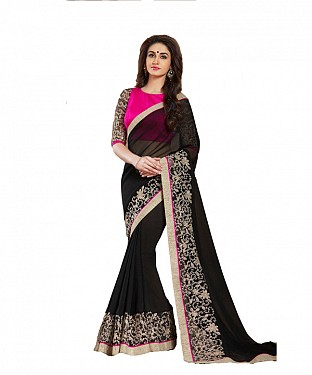 Beautiful Black Embroidery Georgette Saree @ Rs1020.00
