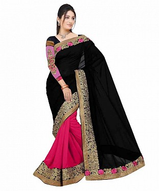 Beautiful Pink and Black  Embroidery Georgette Saree @ Rs741.00