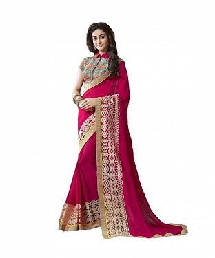 Beautiful Pink Embroidery Georgette Saree @ Rs988.00