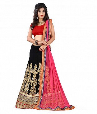 Omtex Fab Awesome Georgette Lehenga With Heavy Embroidery Work And Raw Silk Blouse Piece @ Rs3192.00